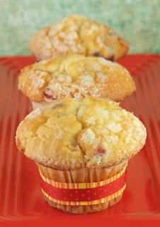 Free Three Muffins On Red Plate Royalty Free Stock Photos - 14279788