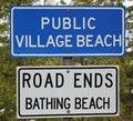 Free Public Village Bathing Beach Sign Royalty Free Stock Image - 14285716