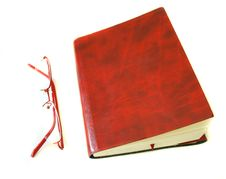 Free Notebook Made Of A Red Skin And Glasses Stock Photo - 14280520