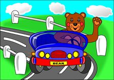 Free Bear And Blue Car Stock Images - 14280634