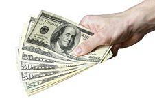 Free Mail Hand Holds Dollar Bills Stock Image - 14280961