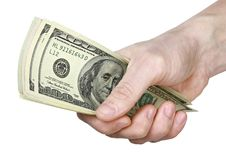 Free Mail Hand Holds Dollar Bills Royalty Free Stock Photos - 14281018