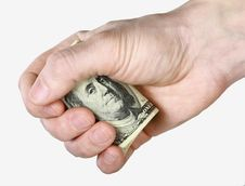 Free Mail Hand Holds Dollar Bills Royalty Free Stock Photos - 14281038