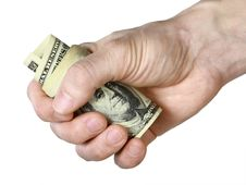 Free Mail Hand Holds Dollar Bills Royalty Free Stock Images - 14281049