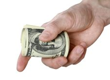 Free Mail Hand Holds Dollar Bills Royalty Free Stock Images - 14281079