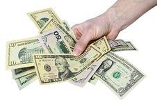 Free Mail Hand Holds Dollar Bills Stock Photo - 14281110