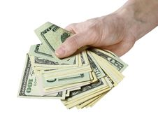 Free Mail Hand Holds Dollar Bills Royalty Free Stock Photo - 14281125
