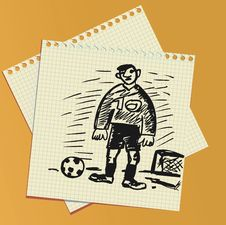 Free Soccer Handrawn Comic Illustration. Royalty Free Stock Photos - 14281338