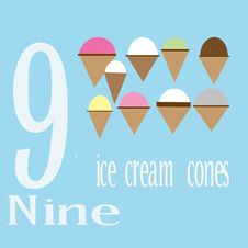 Free Nine Ice Cream Cones Stock Images - 14281934