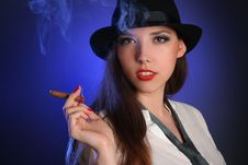 Free Smoking On Blue Royalty Free Stock Image - 14282306