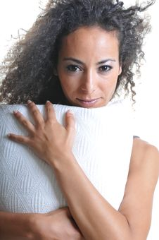 Free Woman With Pillow Stock Image - 14282421