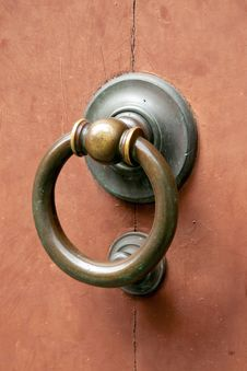 Metal Door Knocker On Wooden Door Stock Photos