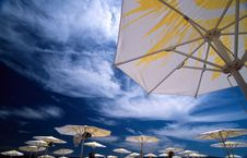 Free Parasols In Front Of Blue Sky Stock Photo - 14283870