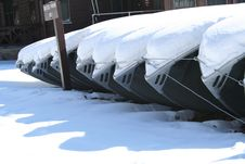 Free Row Boats In Snow Stock Image - 14284041