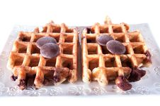 Free Waffles From Integral Wholegrain With Chocolate Stock Images - 14285004