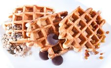 Free Waffles  With Chocolate, Grain And Dried Grapes Stock Photo - 14285030