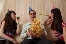 Free Three Friends Partying Stock Image - 14285731