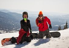 Free Two Snowboarder Blow A Kiss Royalty Free Stock Images - 14286139