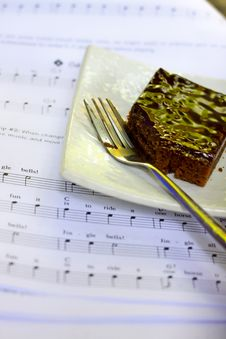 Brownie On The Paper Note Royalty Free Stock Photos