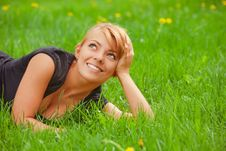 Free Young Pretty Girl On Grass Stock Photos - 14286263