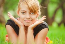 Free Young Pretty Girl On Grass Royalty Free Stock Photo - 14286265