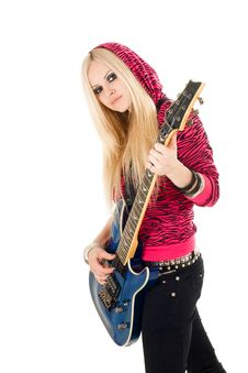 Free Beautiful Blonde With A Guitar Stock Photo - 14286320