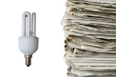 Free Light Bulb And Used Newspapers Stock Photos - 14286953