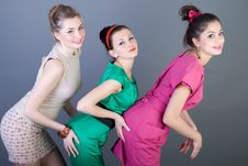 Free Three Happy Retro-styled Girls Royalty Free Stock Photo - 14288585