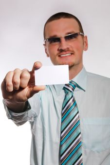 Free Businessman With Card Stock Images - 14288684