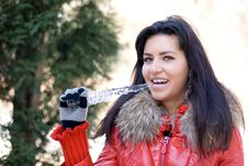 Free Funny Girl With An Icicle Royalty Free Stock Image - 14288846