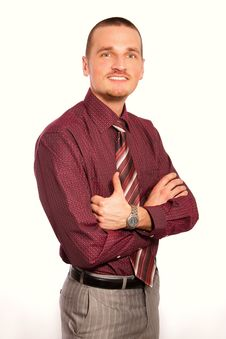 Free Young Businessman At Red Shirt And Tie Stock Photos - 14288973