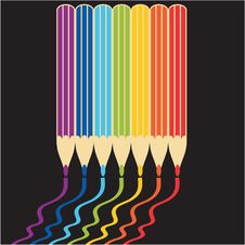 Free Pencils On Black Background Royalty Free Stock Photography - 14289047