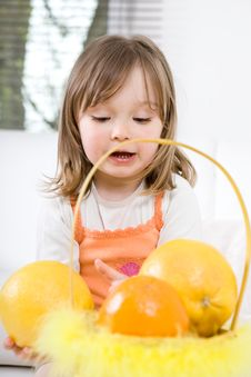 Free Little Girl With Fruits Stock Photos - 14289563