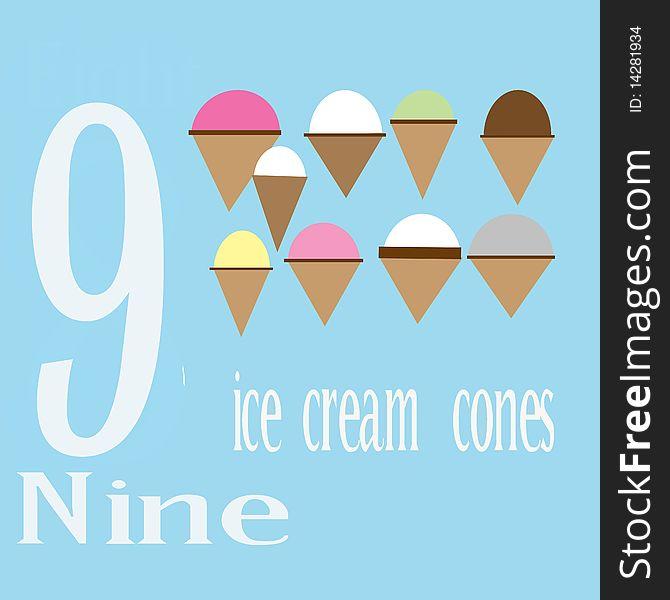 Nine Ice Cream Cones