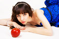 Free Beautiful Girl With A Red Apple Stock Image - 14291151