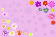 Free Two Bright Color Flower Corners Illustration Royalty Free Stock Photography - 14291007