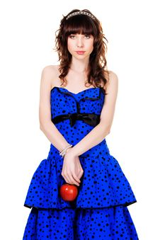 Free Lovely Girl With In A Blue Dress Holding Red Apple Stock Photos - 14291093