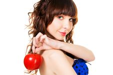 Free Beautiful Brunette With A Red Apple Stock Photo - 14291100