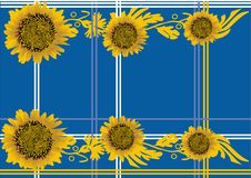 Free Yellow Sunflowers Pattern On Blue Royalty Free Stock Images - 14291119