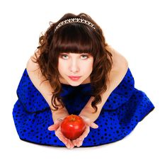 Free Lovely Girl With A Red Apple Stock Images - 14291124