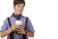 Free Chinese Man Holding Oktoberfest Beer Stein Stock Image - 14291141