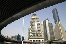 Free Lujiazui Bridge And Office Building Royalty Free Stock Photos - 14291918
