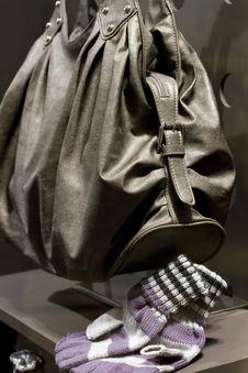 Designers Handbag And Matching Woolen Mittens Stock Image