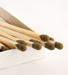 Free Big Matches With Brown Heads Closeup On White Back Stock Images - 14293184