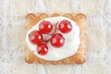 Free Cake With Red Currant In Sour Cream Stock Image - 14293681