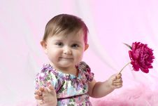 Free Baby With Peony Royalty Free Stock Photography - 14295697