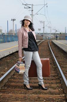 Free Girl At Station Stock Image - 14295771