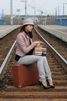 Girl At Station Royalty Free Stock Photos