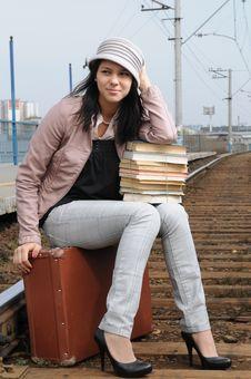 Girl At Station Stock Photos