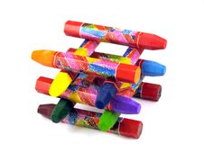 Color Pastel Wax Crayons Stock Images